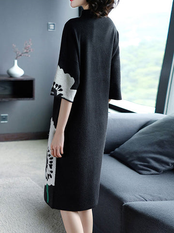 Embroidery Loose Knit Stitching Sweater Dress