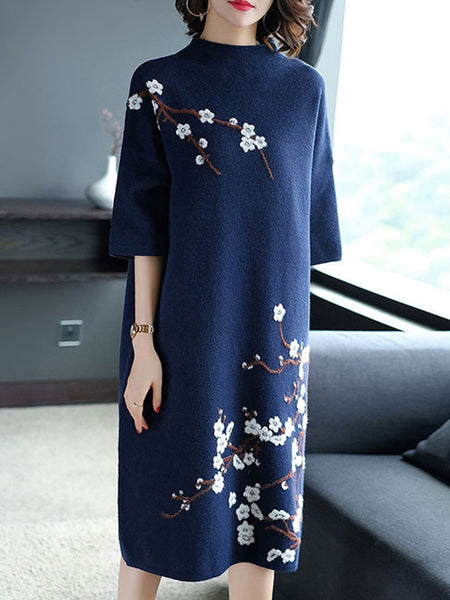 Half-Collar Embroidery Vintage Shift Dress