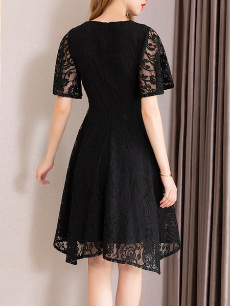 Asymmetric High Waist Lace Skater Dress