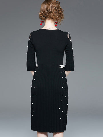 Hand-Beading Knit Seven Sleeves Bodycon Dress