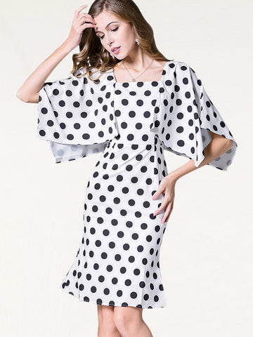 Polka Dot Slim Falbala Half Sleeve Bodycon Dress