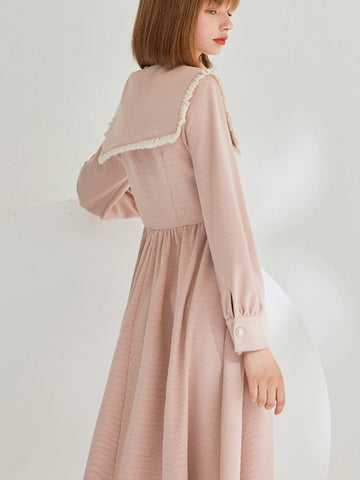 (Presell) Peter Pan Collar Long Sleeve Button Skater Dress