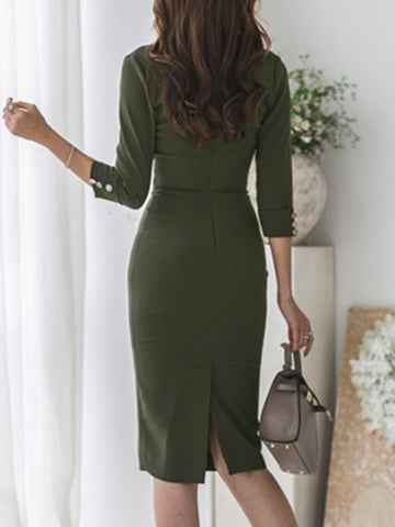Army Green Sashes Lapel Collar Bodycon Dress