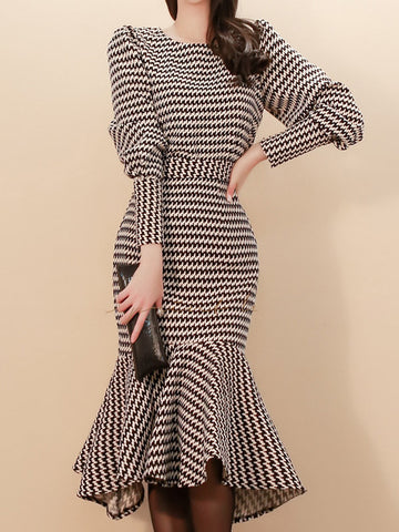 Houndstooth Puff Sleeve Mermaid Bodycon Two-Piece Dress