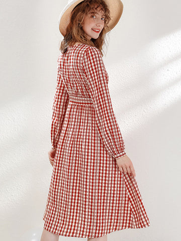 Lace-Up Single Breasted Plaid Skater Dress