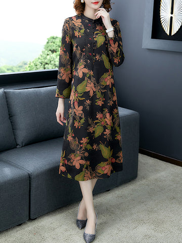 Vintage Stand Collar Silk Print Shift Dress