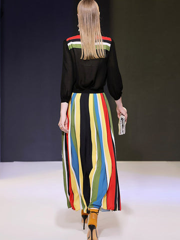 Color Stripe Turn-Down Collar Button Maxi Dress
