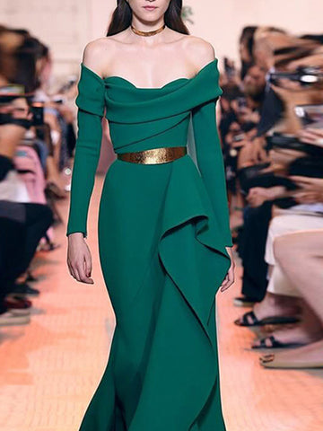 Off-The-Shoulder Green Asymmetric Falbala Maxi Dress