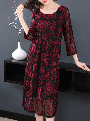 Lace O-Neck Loose Elegant Shift Dress