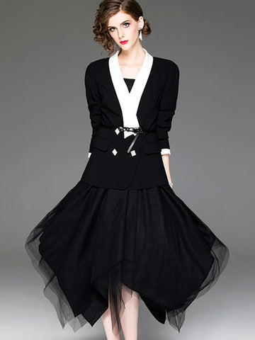 Asymmetric Mesh Lapel Collar Sashes Two-Piece Dress