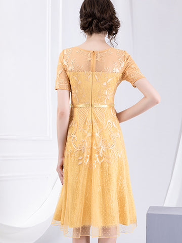 Beaded High Waist Embroidery Chiffon Skater Dress