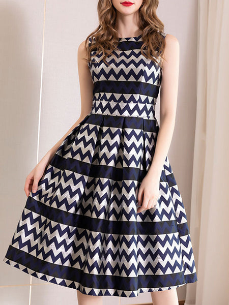 Gathered Waist Sleeveless Print Skater Dress