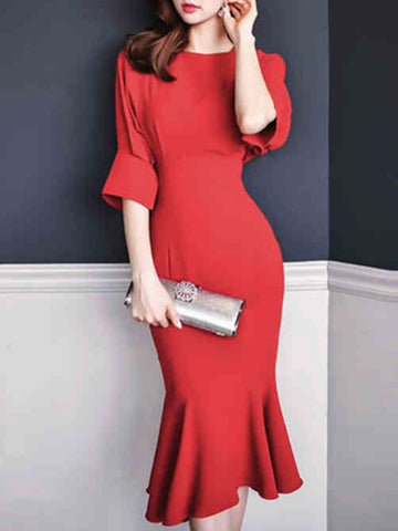 Simple Falbala O-Neck Half Sleeve Solid Bodycon Dress