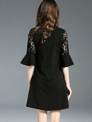 Vintage Falbala Lace Embroidery Hollow Out Shift Dress