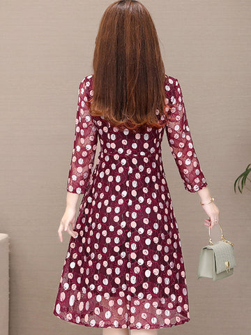 Bow Tie Print Polka Dot Stitching Skater Dress