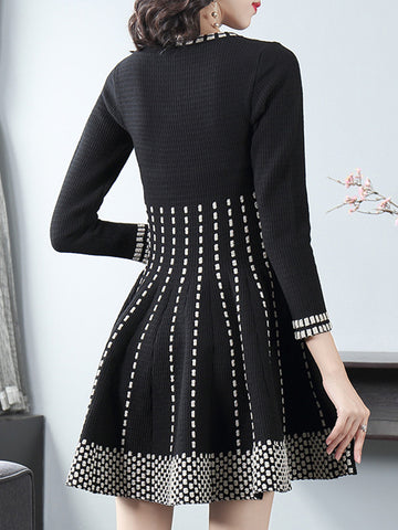 O-Neck Stitching Floral Gathered Waist Sweater Dress