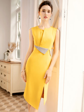 Suave Irregular collar Stitching BlingBling Belted Slit Bodycon Dress