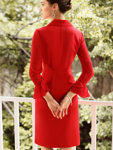 Double-Breasted Lapel Collar Falbala Sleeve Bodycon Dress