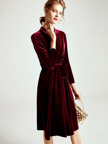 Lacing V-Neck Velour Gathered Waist Skater Dress