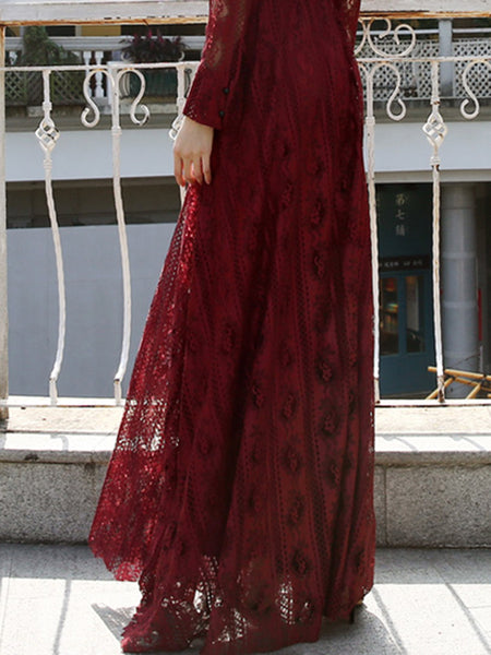 Stand Collar Big Hem Lace Print Maxi Dress