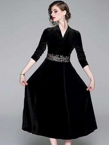 Velour V-Neck Stitching Long Sleeve Maxi Dress