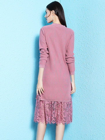 Sweet Stitching Lace laciness knit Sweater Dress