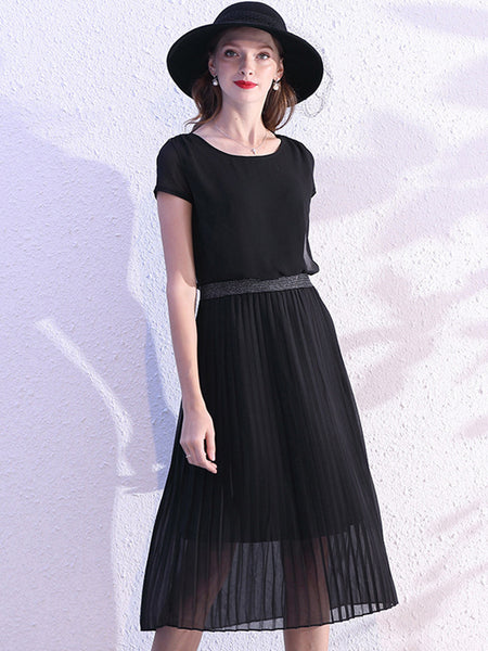 Pleated Stitching O-Neck Chiffon Skater Dress