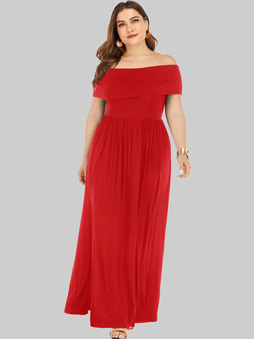 Oversize Boat Neck Slit Pure Color Multicolor Maxi Dress