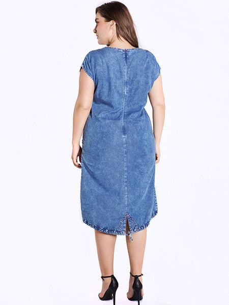 Oversize Stitching Pure Color Cotton Denim Bodycon Dress