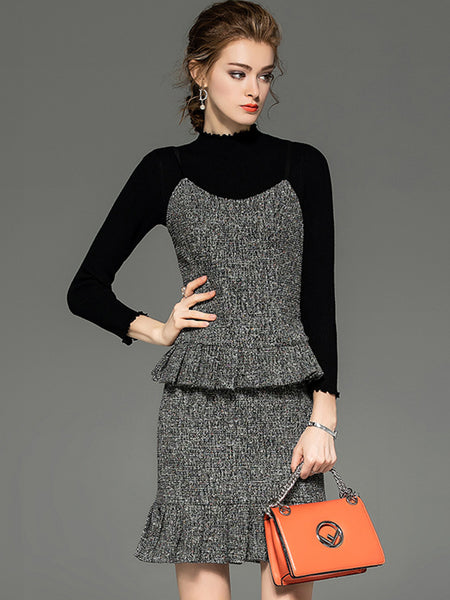 Stand Collar knit Sweater Braces three-piece Bodycon Dress