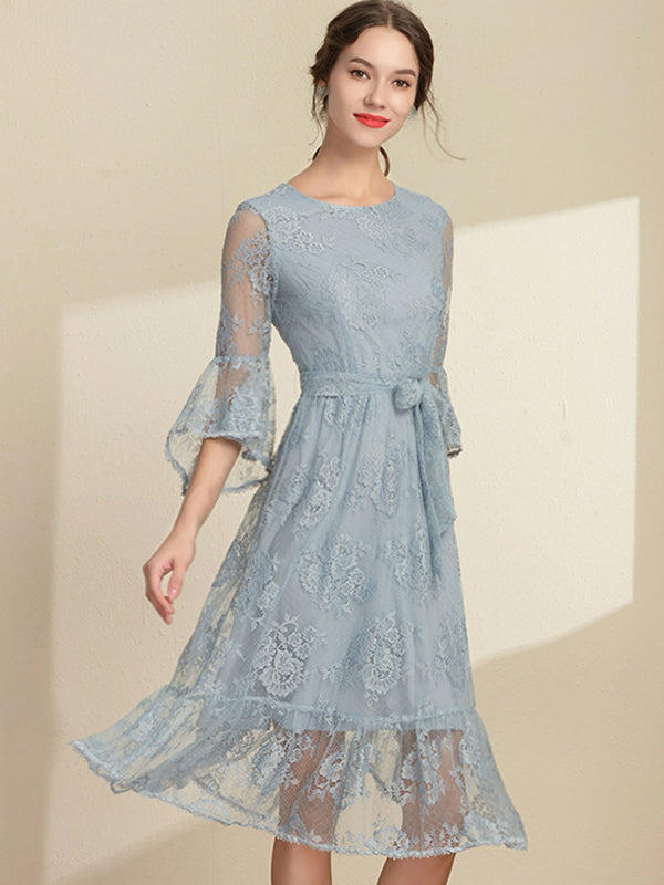 Flare Sleeve Belted Lace Print Embroidery Print Skater Dress