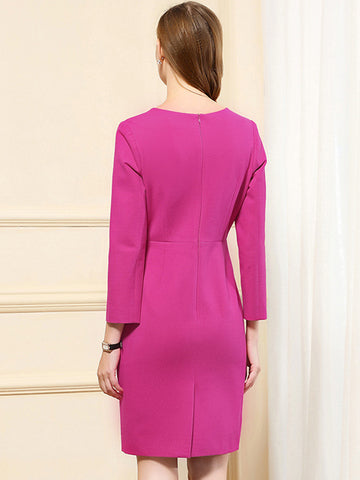 Fashion O-Neck Stitching fastener Wool  Bodycon Dress