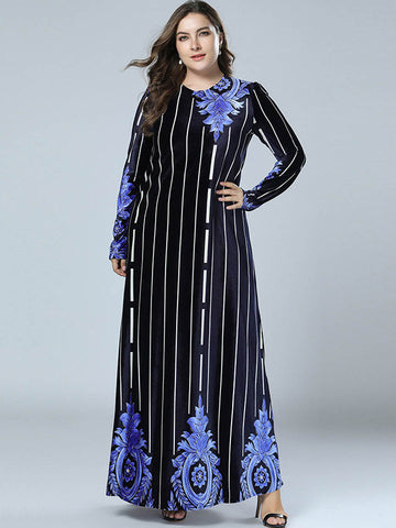Oversize Print Floral Vintage Velour Stripe Maxi Dress