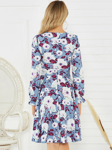 Folk Falbala Sleeve Floral drape Stitching Print Skater Dress