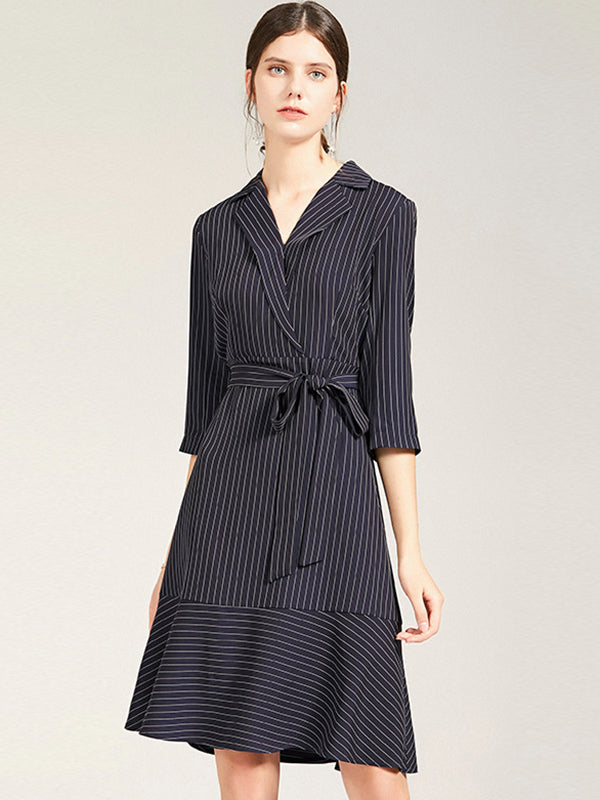 Elegant Work Lapel Collar Bowknot Stripe Skater Dress