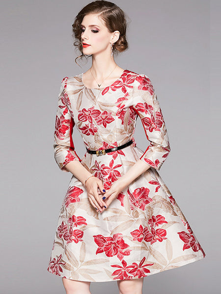 Vintage Jacquard Floral Belted Skater Dress
