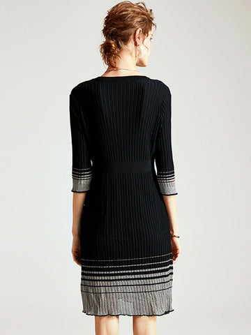 Suave Stripe 3/4 Sleeve Stitching Hit Color Knit Shift Dress
