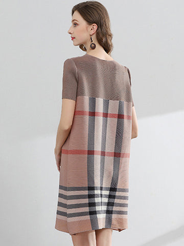 Casual Plaid Hit Color Pleated Shift Dress