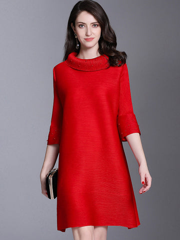 Chic Solid Color 3/4 Sleeve Stand Collar Shift Dress