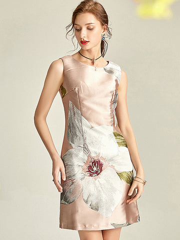 Aristocratic Satins O-Neck Sleeveless Flower Print Bodycon Dress