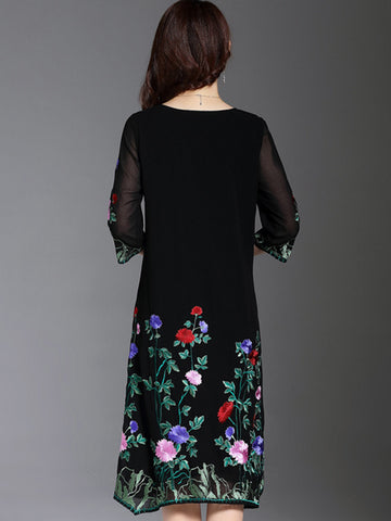 Vintage Stitching Embroidery Flower Print Irregular Shift Dress