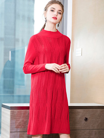 Fashion Textured Stitching Multicolor Shift Knit Sweater Dress