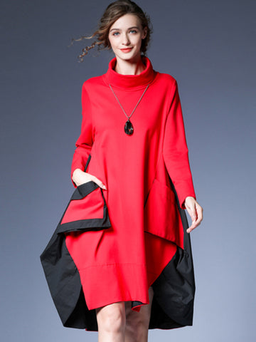 Abstract Color-Block Pocket Irregular Hem Shift Dress