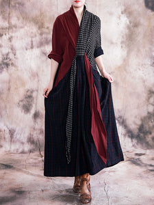 Vintage Oversize Color-Block Lacing Big Hem Shift Dress