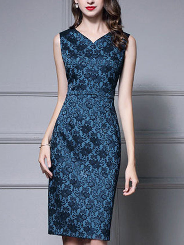 Elegant Jacquard Print Sleeveless Bodycon Dress