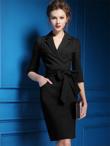 Polish Lapel Collar Bowknot Belted Solid Bodycon Dress