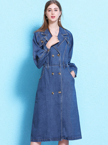 Partysu Lapel Collar Double-Breasted Pocket Denim Shift Dress