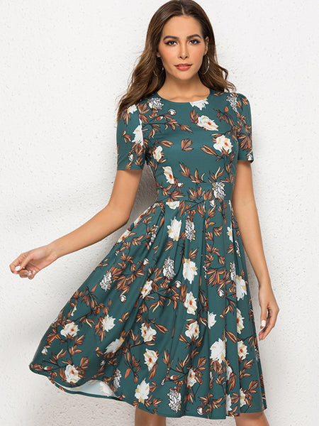 Holiday Gathered Waist Flower Print Skater Dress