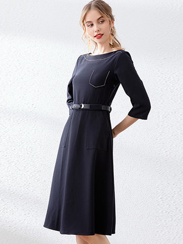 Work Simple Solid Belted Pocket Shift Dress