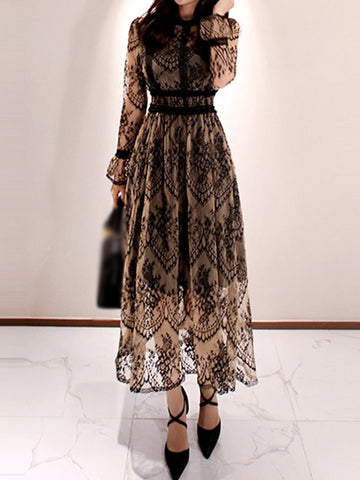 Partysu Lace Print Hollow Out Maxi Dress